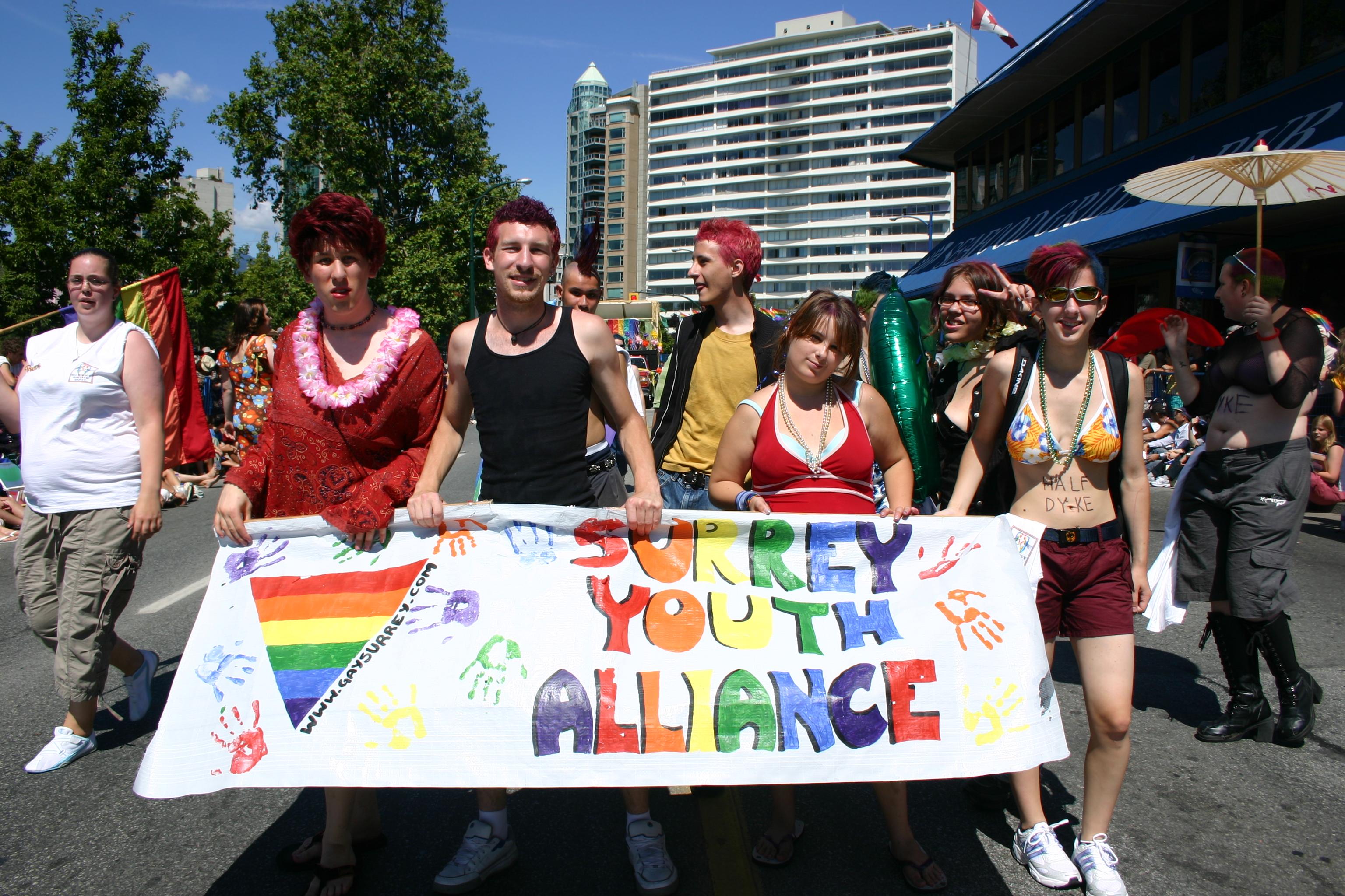 """Queer as Folk"", lesbisch-schwul, beim Vancouver Pride in Britisch Columbia, Kanada"