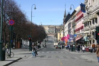 Altstadt von Oslo an einem Frühlingsmorgen im April 2010