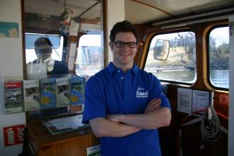 Matrose Hans Steiner 2010. Auf Fjord-Taxiboot freut er sich auf den ESC in Oslo