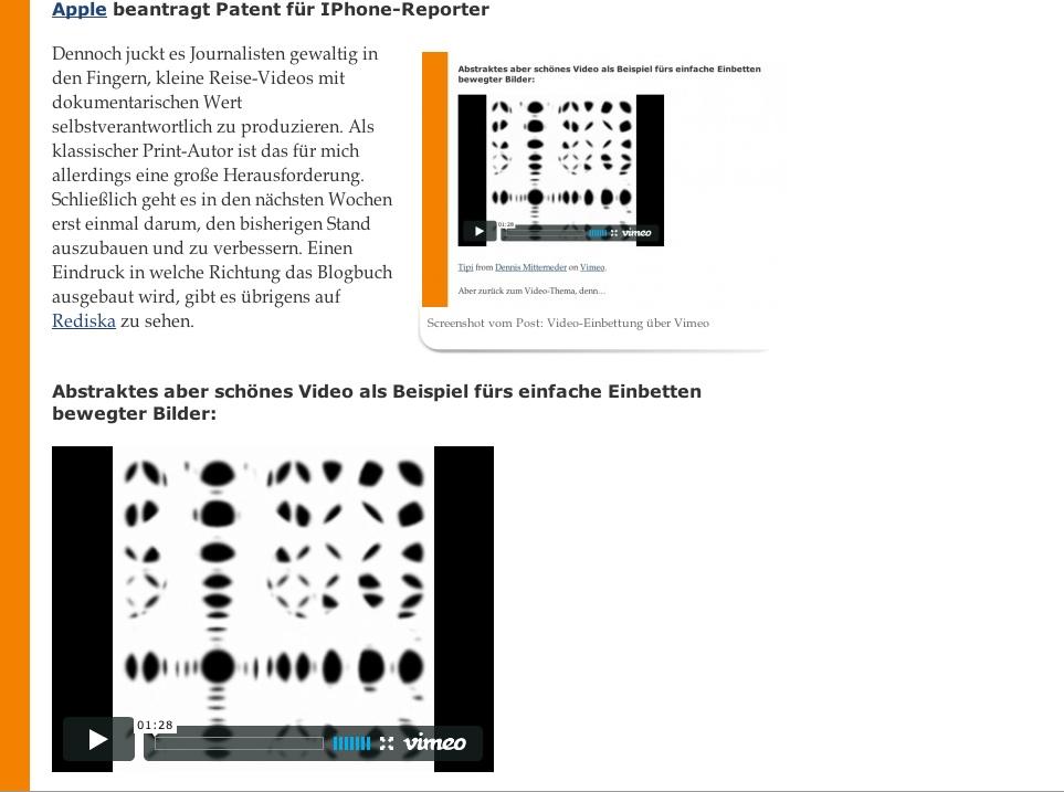 Screenshot vom Post: Video-Einbettung über Vimeo, Foto: Robert Niedermeier