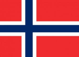 Nationalwappen von Norwegen: blaues Kreuz quer auf rotem Grund