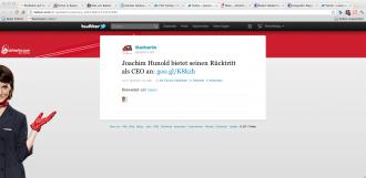 Pressemitteilung zum Rücktritt von Joachim Hunold kam von Air Berlin auch via Twitter