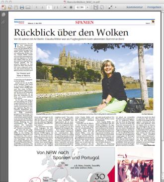 Screenshot WAZ Reise Journal Artikel: Claudia Rößler, längjährige Flugbegleiterin beim Flugunternehmen Air Berlin