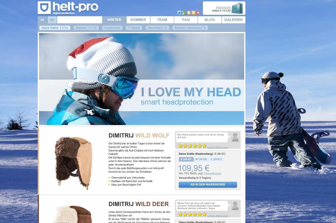 Screenshot der Herstellerseite Helt Pro Winter, Neues design für Sicherheitshelme