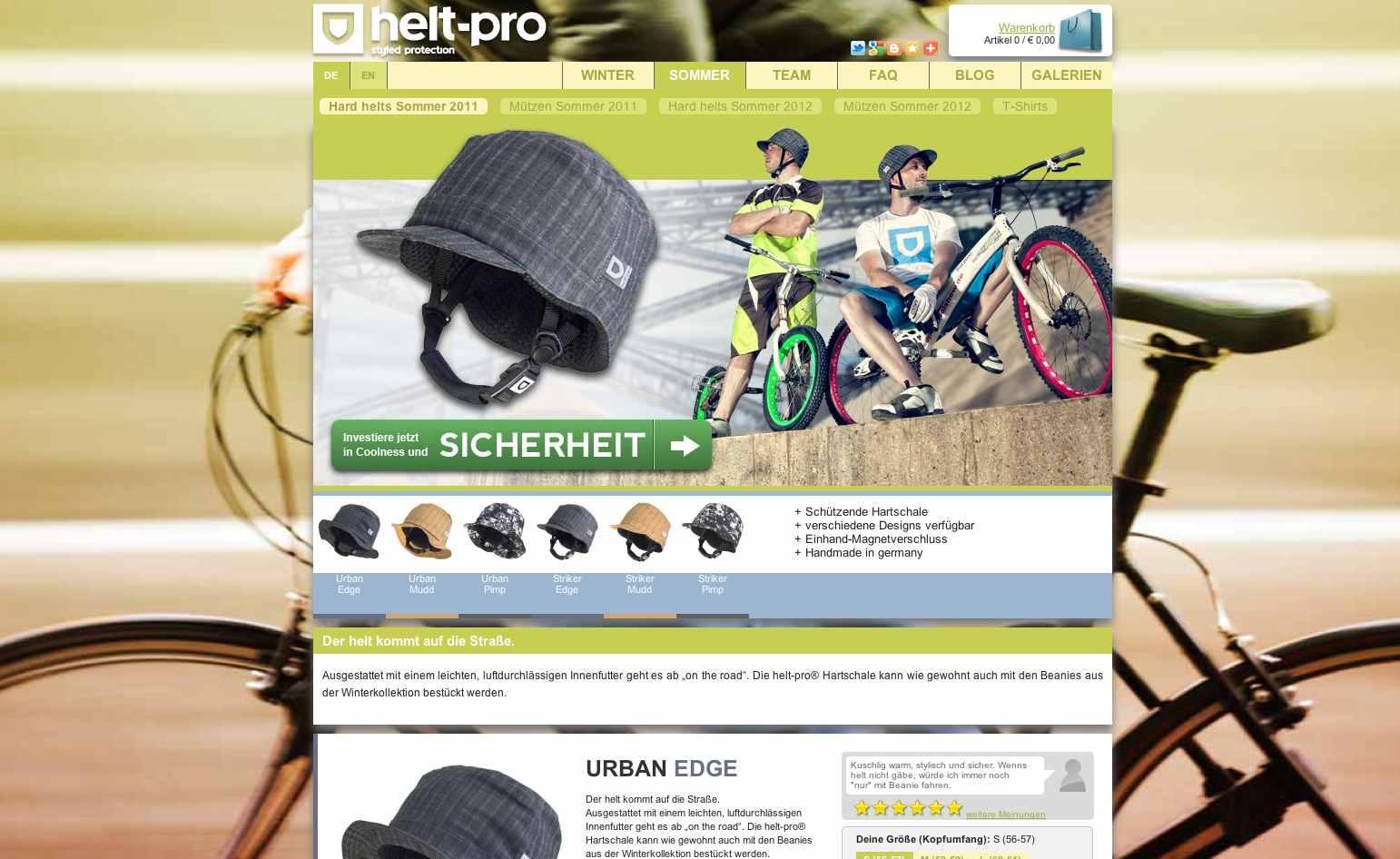 Screenshot der Herstellerseite Helt Pro Sommer