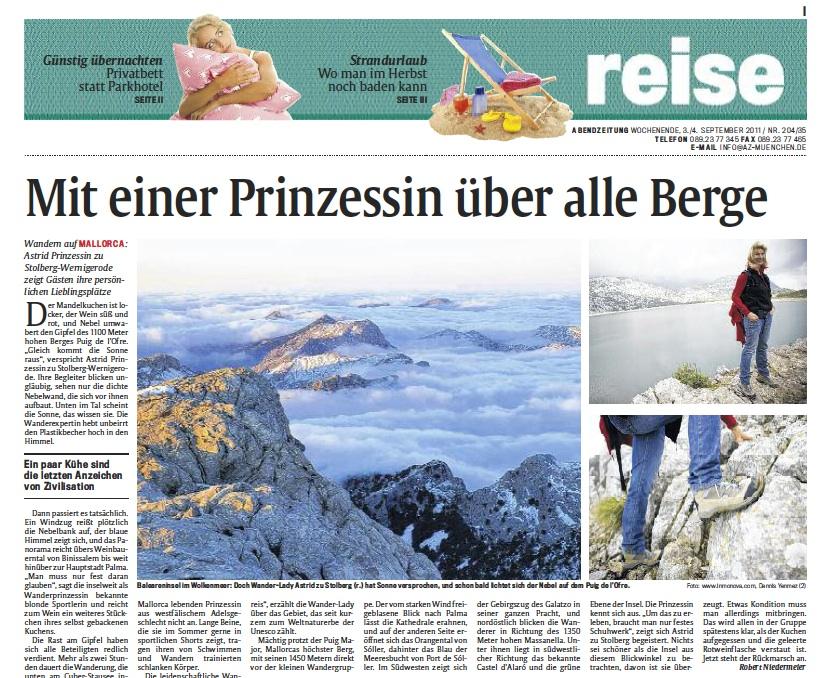 Reportage Mit Prinzessin über alle Berge in Münchner Abendzeitung, Titel des Reiseteils vom 03.09.2011