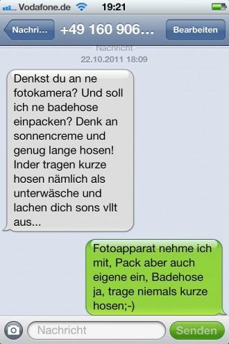 sms-Sceenshot der Nachricht, die Anderas Niedermeier an Robert Niedermeier gesendet hat