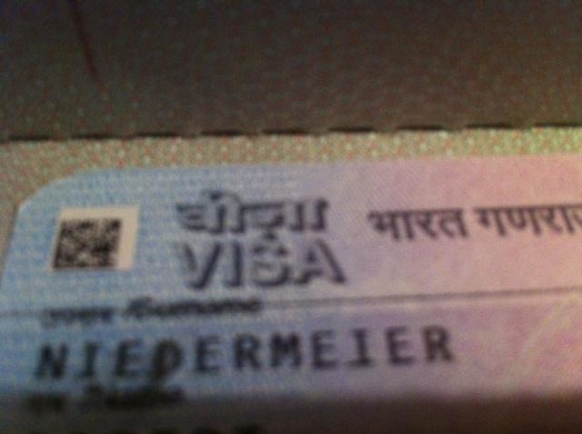 Indien Touristen-Visa Ausschnitt in Robert Niedermeiers Reisepass