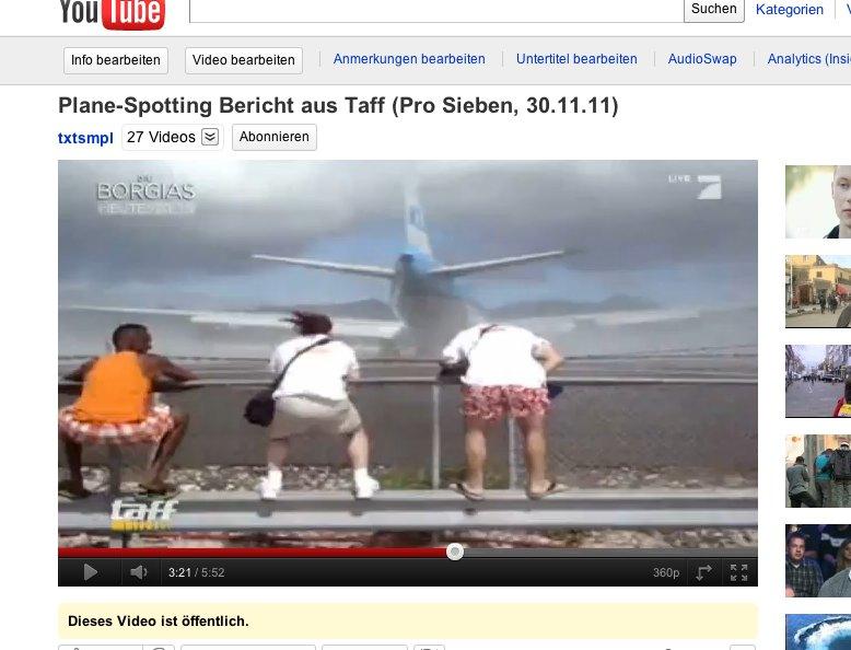 Plane-Spotter auf Sant Martin/ Videoausschnitt Pro Sieben, taff-Beitrag