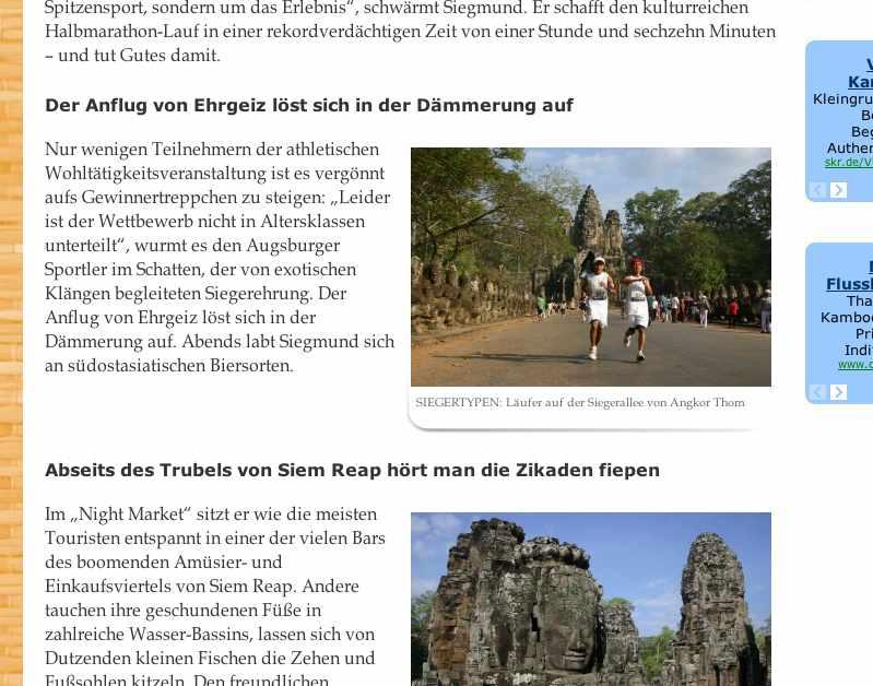 Screenshot mit Ausschnitt des Artikels Schweiß & Charity