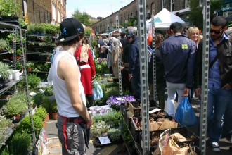 London: Blumenmarkt in Hackney auf der Columbia Road