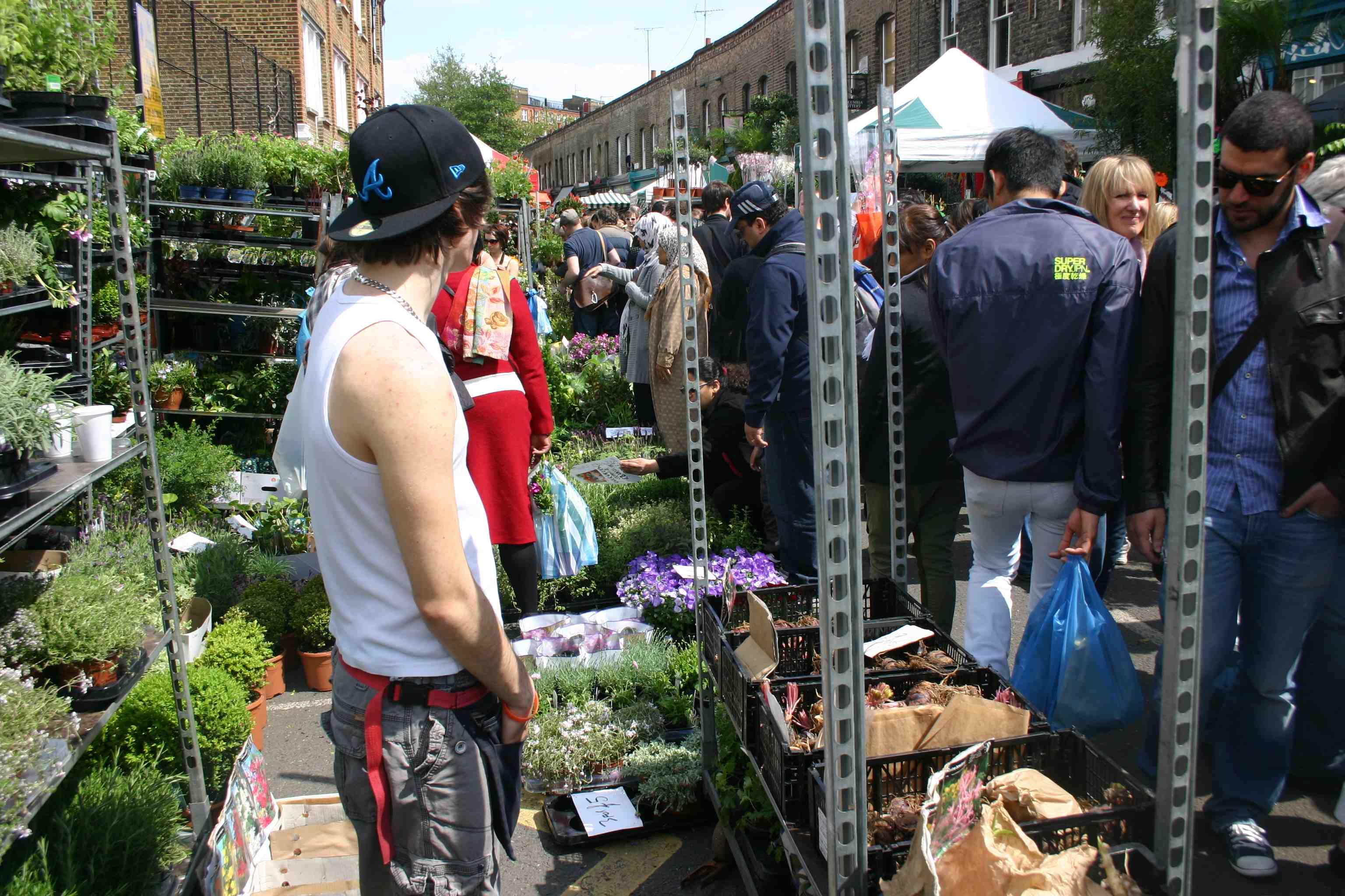London: Blumenmarkt in Hackney auf der Columbia Road