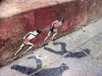 Streetart Art London Olympische Themen von Streetartist Pablo Delgado