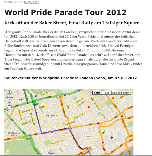 Ausschnitt via Screenshot, Blogeintrag Worldpride-Parade