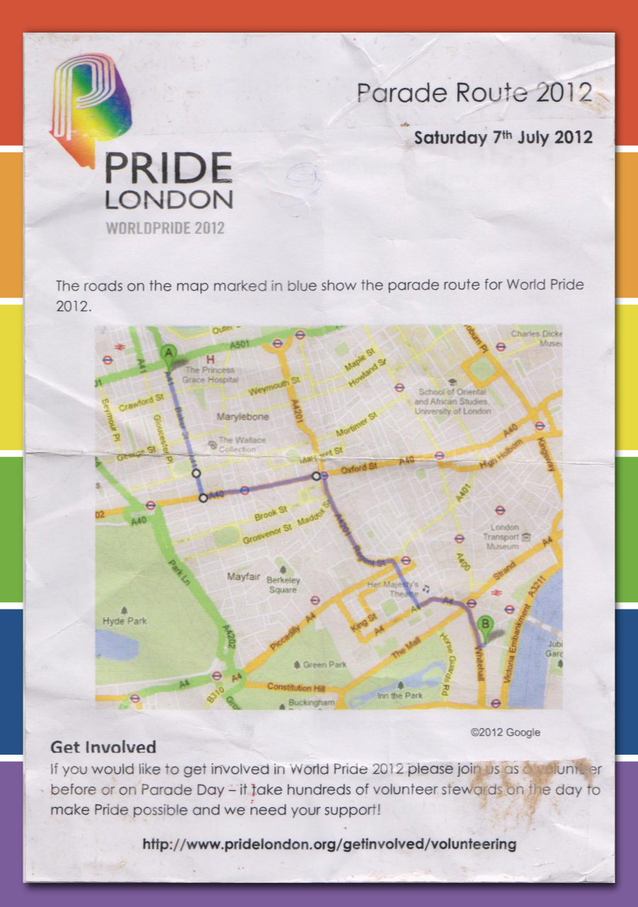 World Pride 2012: Flyer der Pride Association mit Routenverlauf durch Soho