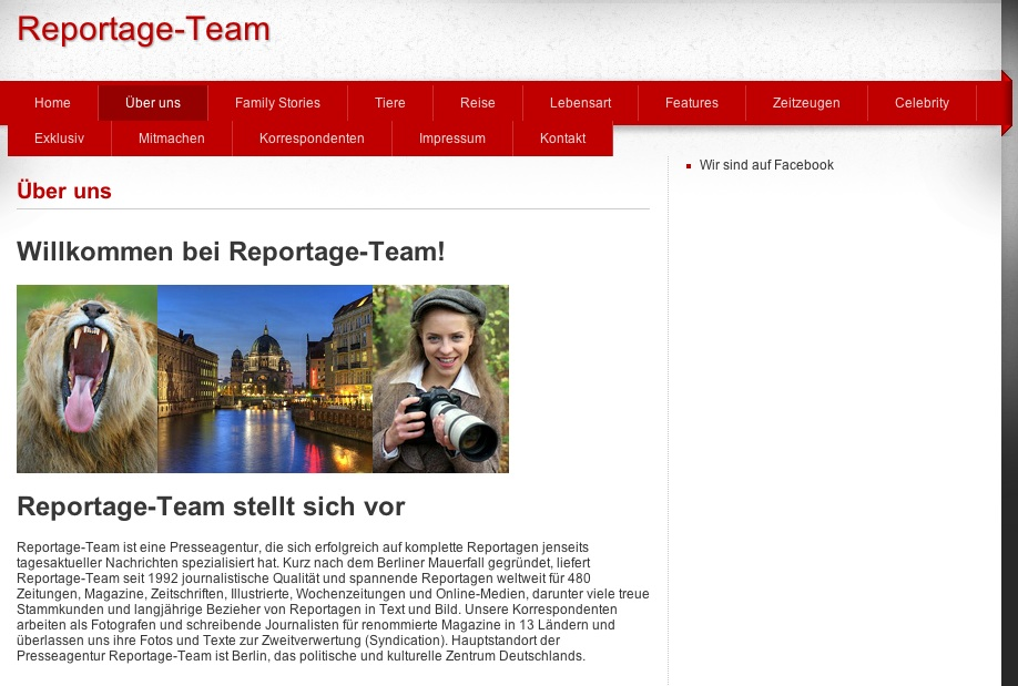 Startseite der Fake-Agentur Reporatgeteam