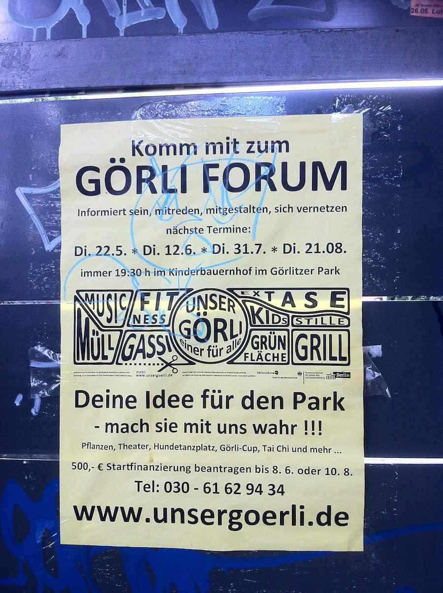 Görli Forum-Plakat lädt scheinheilig zum Mitmachen ein