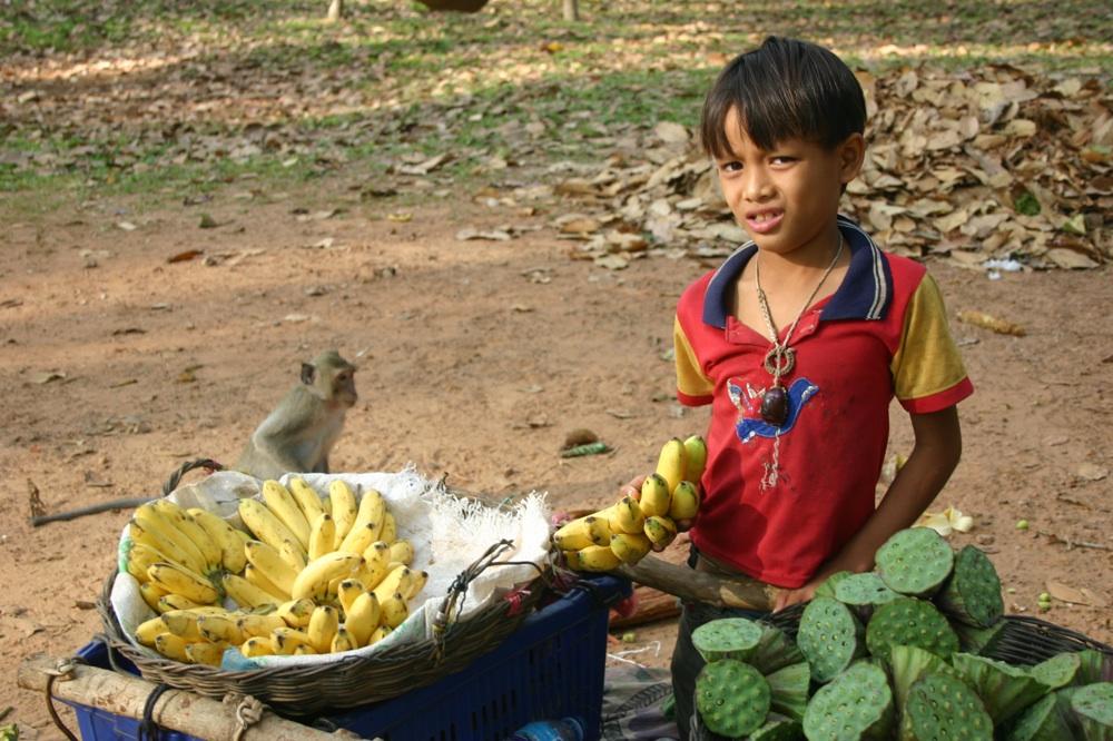 Affe und Kind im Angkor Wat-Park, Kambodscha