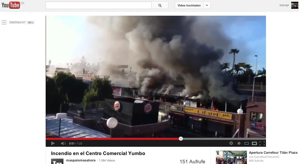 Ausschnitt aus YouTube-Video vom Feuer im Yumbo-Center auf Gran Canaria