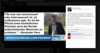 """Pro NRW Aktivist Alexander Kern betreibt """"Pink Washing"""" auf Facebook"""