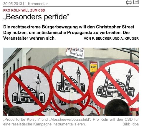 Pro Köln macht Stimmung gegen Migration, Screenshot, Quelle Taz: http://www.taz.de/!117156/