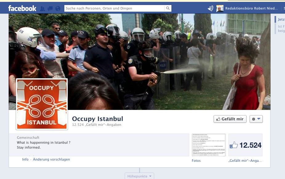 Screenshot von Facebookseite: https://www.facebook.com/OccupyistanbulOccupygeziparki?hc_location=timeline