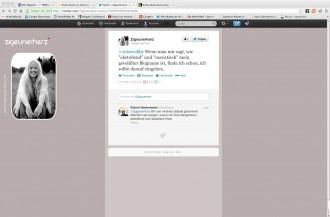 Dialog mit Zigeunerherz, Screenshot Twitter