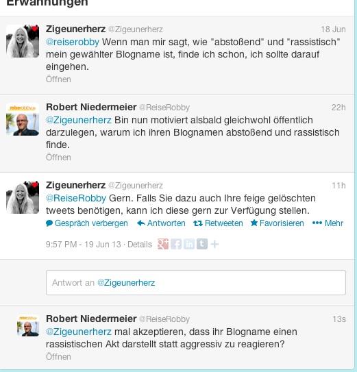 Zigeunerherz im Dialog mit Reiserobby