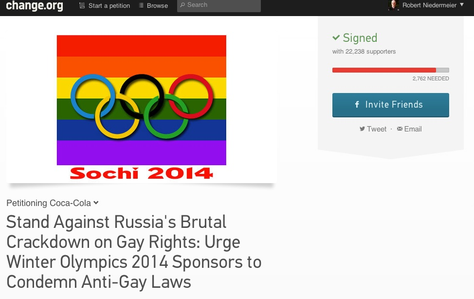 Petitionsseite Change.org #Sotchi