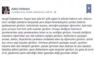 """#OccupyGezi #direngeziparkı - Aykut Gürlemez: """"Erdogan, heute hast du eigentlich uns allen etwas Gutes angetan!"""