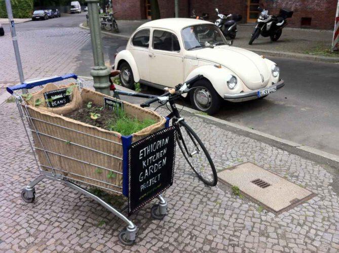 Mit Fahrrad am 14.07.2013... Äthiopischer Küchengarten mit Fahrrad am 14.07.2013, aber ohne Wasserlieferung, der Käfer steht wie immer am selben Ort.