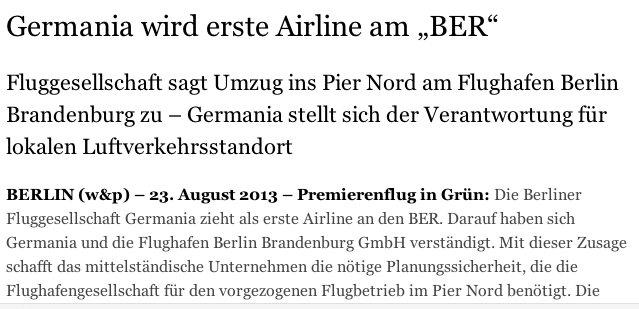 Pressemitteilung von Wilde & Partner: Germania erste Flug-Gesellsc