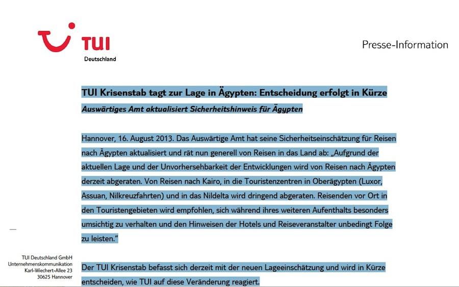 tui-Pressemitteilung: Krisenstab berät über Reisewarnung zu Ägypten