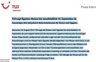 Tui empfiehlt Urlaubern Stornierung ihrer Ägyptenreise bis einschließlich 15. September 2013