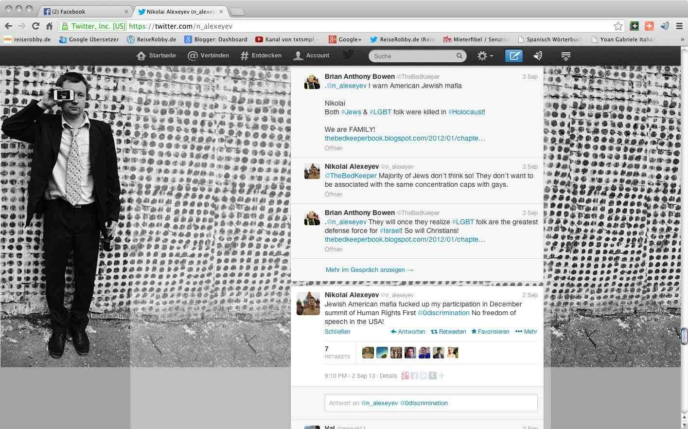 ergeht sich auf seinem Twitter-Account in antisemitischer Sudelsprache
