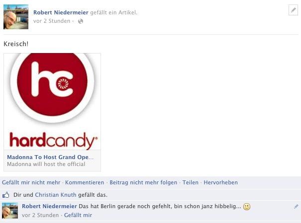 """dass Madonna Gastgeber unserer offiziellen Eröffnung ist"""", erklärt Dr. Jürgen Job auf der Madonna-Homepage. Screenshot von meinem Facebook-Profil"""