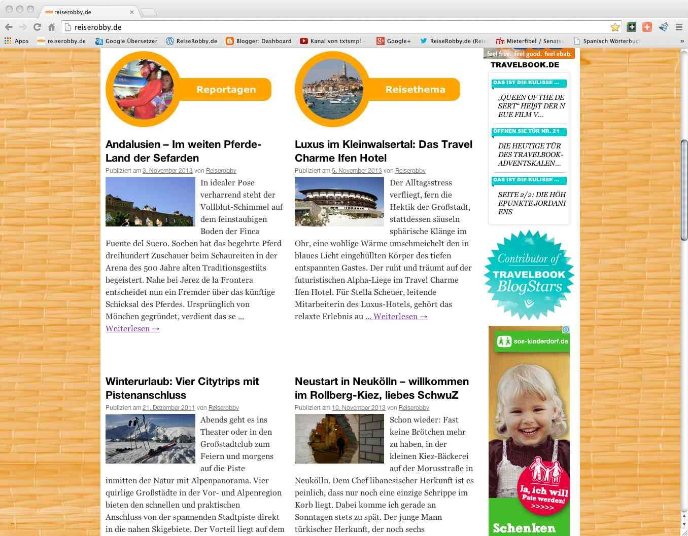 Magazin-Look: die neusten drei Artikel aus den Rubriken Hotellerie, Hintergrund und Höhepunkte (Reisethema) sowie Traumziele, Wintersport und Stadtansichten (Reportagen)