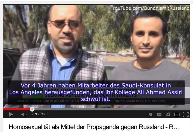 Ali Ahmad Assiri, rechts im Bild, Mitarbeiter des saudischen Konsulats in Los Angeles, Screenshot aus dem Video von RT.