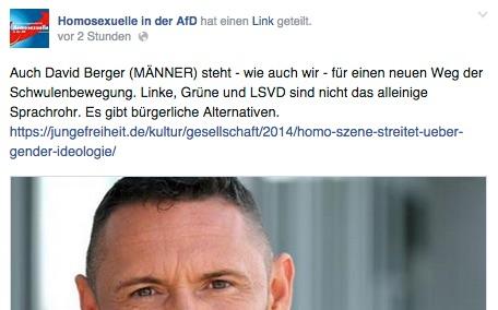Homosexuelle in der AfD loben ihr Facebook-Testimonal Dr. David Berger