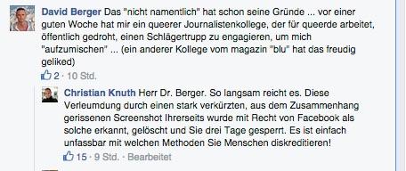 Die Berger-Lüge, öffentlich auf der Männer-FB-Seite