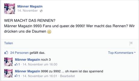 Post auf Männer-Facebookseite: Wer macht Rennen?