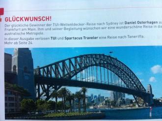 """Fingierter Glückwunsch an """"Daniel Osterhagen"""" aus Frankfurt am Main. In der November/ Dezember-Ausgabe 2008 wurde einem Gewinner der Sydney-Reise gratuliert.  """"Ähnlichkeiten mit lebenden Personen sind rein zufällig und nicht absichtlich."""""""