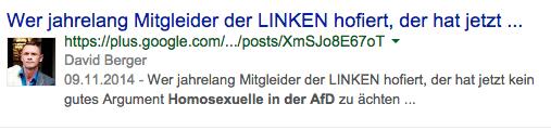 """""""Wer jahrelang Mitgleider der LINKEN hofiert, der hat jetzt kein gutes Argument Homosexuelle in der AfD zu ächten ..."""" Dr. David Berger auf Googleplus"""