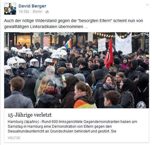 """Besorgter Berger... Verwundert mich nicht, dass sich der reaktionäre Katholik auf den schlecht recherchierten, diffamierenden Welt-Artikel beruft, um dem Hamburger Aktionsbündnis """"Vielfalt statt Einfalt"""" niederträchtig von rechts ans Bein zu pissen... Was wirklich geschah, erklärt indes Queer.de: http://www.queer.de/detail.php?article_id=23095"""