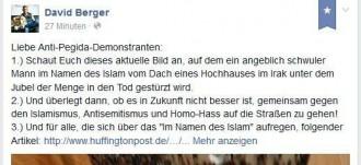 """Die sogenannten Islamkritiker wie der Mörder Breivik, der Demagoge Broder und Hetzer Berger suhlen sich derweil im Blut der Opfer von barbarische Taten von IS-Faschisten, nutzen die erschreckenden Horror-Nachrichten als Angelpunkt ihrer Hetzkampagne gegen Migranten in Europa. Unverfroren ruft der Männer-Chefredakteur via Facebook dazu auf, sich den rassistichen Pegida-Demos gegen die """"Islamisierung des Abendlandes"""" anzuschließen"""