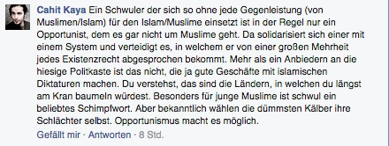Sogenannter Islamkritiker Kaya in Action - Kommentar auf meiner FB-Seite
