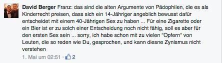 Sittenpolitische statt journalistische IdealeBerger stellt sich übers Gesetz , denn Fakt ist: Kinder sind nach deutschem Strafrecht Personen, die das vierzehnte Lebensjahr noch nicht vollendet haben. Nachzulesen im Strafgesetzbuch (StGB) § 176 Sexueller Missbrauch von Kindern