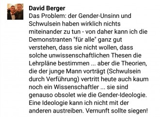 Berger setzt auf seiner Facebookseite Homohasser mit Wissenschaftler gleich