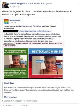 Berger sieht über rassistische und homophobe Hetze hinweg, schließt sich stattdessen mit Lügen unterfüttert der Häme an