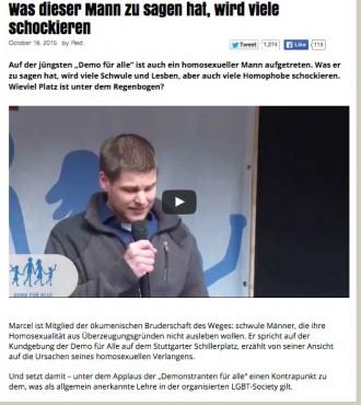 """Berger erfragt Platz unterm Regenbogen für Homo-Heiler-Erfolg """"Marcel"""""""